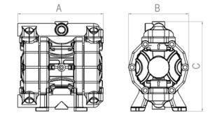 "1/2"" diaphragm pump P50 dimension sketch"