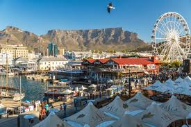 Table Mountain overshadows the V and A waterfront